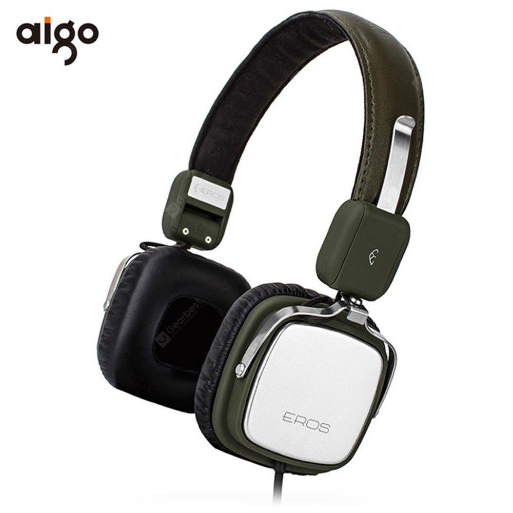 Aigo Eros H651 Hifi Music Headphones Soft Leather Earmuff 6622 Ems Adjustable Headband Green Gold For Baby Free Shipping