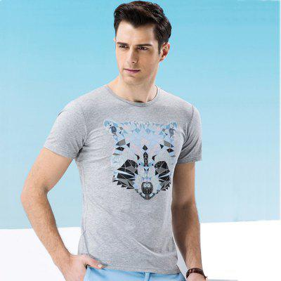Legend Paul Men Animal Pattern Short Sleeves T-shirt