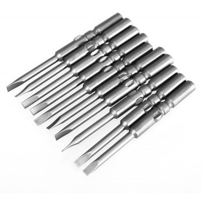 10PCS 60MM S2 Alloy Steel Electric Magnetic Flat Screwdriver Bit