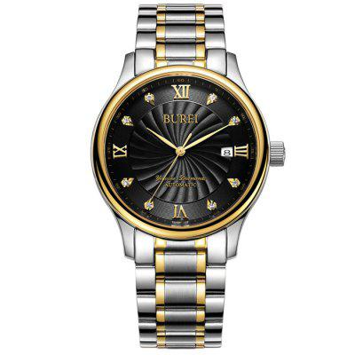 BUREI Business Automatic Mechanical Men WatchMens Watches<br>BUREI Business Automatic Mechanical Men Watch<br><br>Band material: Stainless Steel<br>Band size: 23 x 1.8 cm / 9.06 x 0.71 inches<br>Case material: Stainless Steel<br>Clasp type: Butterfly clasp<br>Dial size: 3.8 x 3.8 x 1.2 cm / 1.5 x 1.5 x 0.47 inches<br>Display type: Analog<br>Movement type: Automatic mechanical watch<br>Package Contents: 1 x BUREI Business Automatic Mechanical Men Watch<br>Package size (L x W x H): 28.00 x 8.00 x 3.50 cm / 11.02 x 3.15 x 1.38 inches<br>Package weight: 0.2530 kg<br>Product size (L x W x H): 23.00 x 3.80 x 1.20 cm / 9.06 x 1.5 x 0.47 inches<br>Product weight: 0.1330 kg<br>Shape of the dial: Round<br>Watch color: Black + Gold, Black + Silver, White + Gold, Blue + Silver<br>Watch mirror: Sapphire<br>Watch style: Business<br>Watches categories: Male table<br>Water resistance: 100 meters