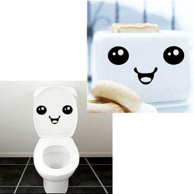 Cute Face Design Decal Sticker for Toilet Glass Wall