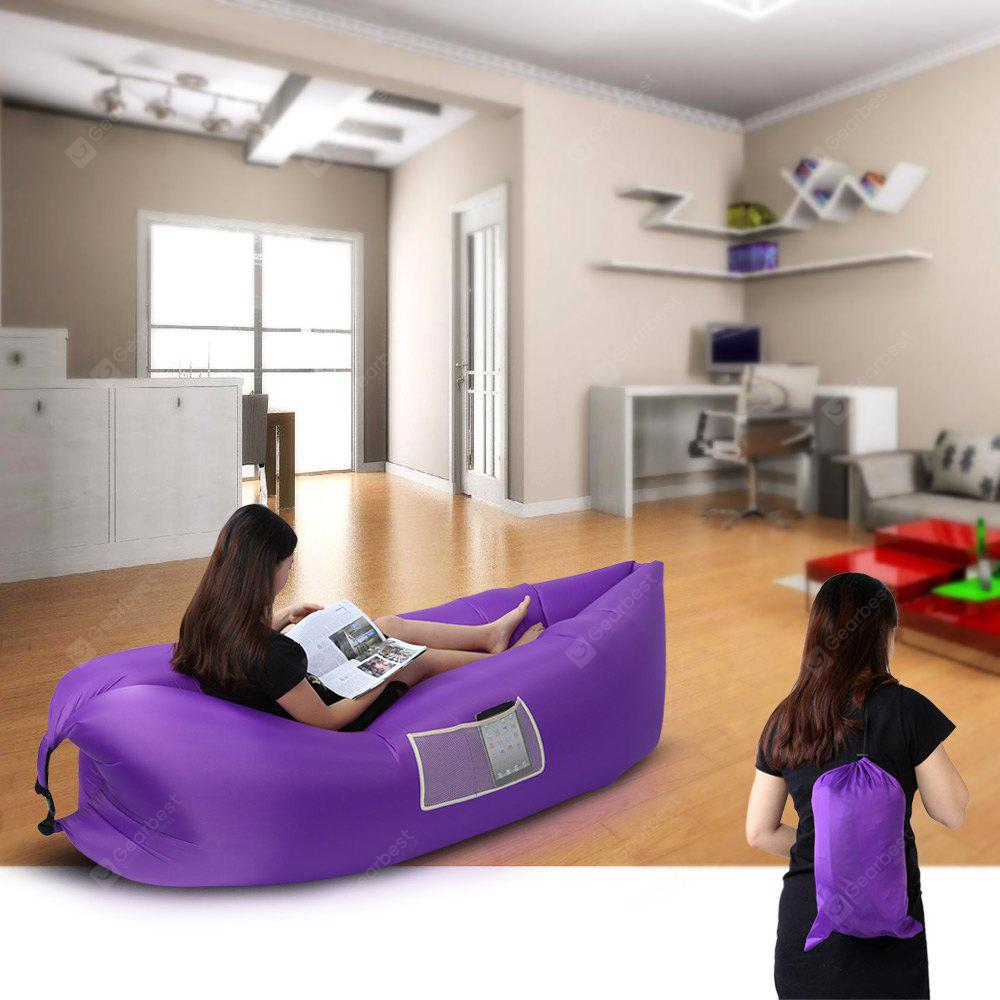 Portable Inflatable Folding Sleeping Bag with Mesh Pocket - PURPLE