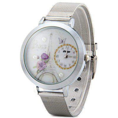 Fiana A62 Female Paris Tower Quartz Watch Round Dial Steel Wristband