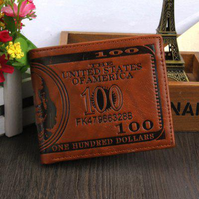 Retro Bifold Men Wallet PU Leather US Dollar Pattern Money Clips