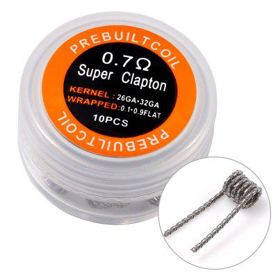 Prebuilt Kanthal A1 Super Clapton CoilAccessories<br>Prebuilt Kanthal A1 Super Clapton Coil<br><br>Accessories type: Wicks/Wires<br>Available Color: Silver<br>Material: Kanthal<br>Package Contents: 1 x Prebuilt Super Clapton Coil Box ( with 10pcs 0.7ohm Heating Wire )<br>Package size (L x W x H): 5.00 x 5.00 x 3.50 cm / 1.97 x 1.97 x 1.38 inches<br>Package weight: 0.0350 kg<br>Product size (L x W x H): 4.00 x 4.00 x 2.50 cm / 1.57 x 1.57 x 0.98 inches<br>Product weight: 0.0150 kg<br>Resistance: 0.7ohm<br>Type: Electronic Cigarettes Accessories