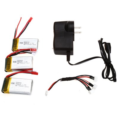 X601H - 002 3pcs 7.4V 700mAh Battery Charger Set