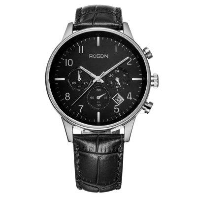 ROSDN Fashion Men Sapphire Mirror Sports Quartz WatchMens Watches<br>ROSDN Fashion Men Sapphire Mirror Sports Quartz Watch<br><br>Available Color: Black,Coffee,White<br>Band material: Genuine Leather<br>Band size: 26.5 x 2 cm / 10.43 x 0.79 inches<br>Case material: Stainless Steel<br>Clasp type: Butterfly clasp<br>Dial size: 4.2 x 4.2 x 1.05 cm / 1.65 x 1.65 x 0.41 inches<br>Display type: Analog<br>Movement type: Quartz watch<br>Package Contents: 1 x ROSDN Men Sports Quartz Watch<br>Package size (L x W x H): 28.00 x 8.00 x 3.50 cm / 11.02 x 3.15 x 1.38 inches<br>Package weight: 0.220 kg<br>Product size (L x W x H): 26.50 x 4.20 x 1.05 cm / 10.43 x 1.65 x 0.41 inches<br>Product weight: 0.160 kg<br>Shape of the dial: Round<br>Special features: Luminous<br>Watch mirror: Sapphire<br>Watch style: Trends in outdoor sports<br>Watches categories: Male table<br>Water resistance: 50 meters