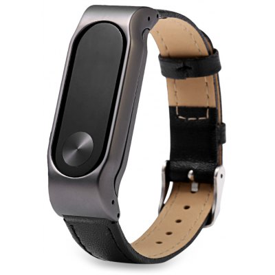D.MRX Metal Case Steel Watch Strap for Xiaomi Miband 2 – BLACK
