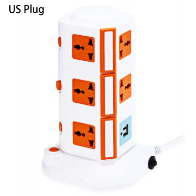 XINGNIU 2 USB Charger + 11 Triporate Ports Socket
