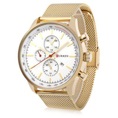 Buy WHITE AND GOLDEN CURREN 8227 Business Decorative Sub-dial Men Quartz Watch for $16.86 in GearBest store
