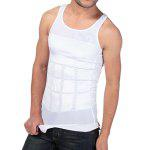 Men Flatten Abdomen Corset Breathable Body Shapewear - WHITE
