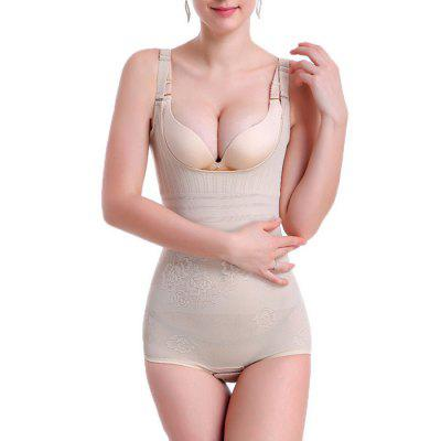 Women Floral Jumpsuit Slimming Brocade Corset Body Shapewear
