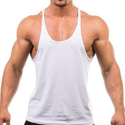 Men Cotton Spaghetti Straps Solid Color Fitness Tank Tops