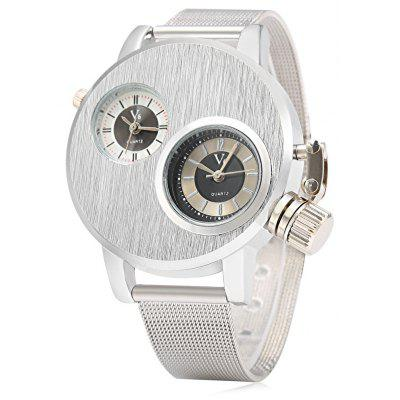 V6 6007 Casual Style Dual Movt Men Quartz Watch