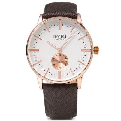 EYKI 1030 Casual Nail Scale Small Dial Men Quartz WatchMens Watches<br>EYKI 1030 Casual Nail Scale Small Dial Men Quartz Watch<br><br>Available Color: Black,Gold,Rose Gold,Silver<br>Band material: Genuine Leather<br>Band size: 24.2 x 2 / 9.53 x 0.79 inches<br>Brand: Eyki<br>Case material: Stainless Steel<br>Clasp type: Pin buckle<br>Dial size: 3.8 x 3.8 x 1 cm / 1.5 x 1.5 x 0.39 inches<br>Display type: Analog<br>Movement type: Quartz watch<br>Package Contents: 1 x EYKI 1030 Casual Men Quartz Watch<br>Package size (L x W x H): 25.20 x 4.80 x 2.00 cm / 9.92 x 1.89 x 0.79 inches<br>Package weight: 0.080 kg<br>Product size (L x W x H): 24.20 x 3.80 x 1.00 cm / 9.53 x 1.5 x 0.39 inches<br>Product weight: 0.044 kg<br>Shape of the dial: Round<br>Watch style: Casual<br>Watches categories: Male table<br>Water resistance: 30 meters<br>Wearable length: 17.8 - 22 cm / 7.01 - 8.67 inches