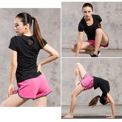 Female Fitness Yoga T-shirtYoga<br>Female Fitness Yoga T-shirt<br><br>Color: Black<br>Features: Breathable, High elasticity, Quick Dry<br>Gender: Female<br>Material: Polyester, Spandex<br>Package Content: 1 x Female Fitness Yoga T-shirt<br>Package size: 28.00 x 22.00 x 1.00 cm / 11.02 x 8.66 x 0.39 inches<br>Package weight: 0.2400 kg<br>Product weight: 0.1800 kg<br>Size: L,M,XL<br>Types 1: Short Sleeves