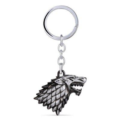 Wolf Head Model Zinc Alloy Pendant Decor Keyring