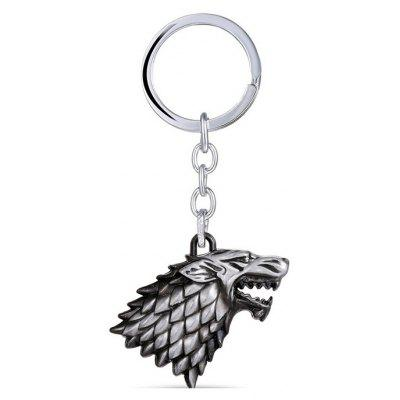 Gearbest Wolf Head Model Zinc Alloy Pendant Decor Keyring