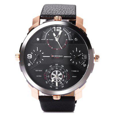 SHIWEIBAO A3612 Casual Men Quartz WatchMens Watches<br>SHIWEIBAO A3612 Casual Men Quartz Watch<br><br>Available Color: Black,Brown,Deep Blue,Gray<br>Band material: Leather<br>Band size: 27.7 x 2.8 cm / 10.91 x 1.10 inches<br>Brand: Shiweibao<br>Case material: Stainless Steel<br>Clasp type: Pin buckle<br>Dial size: 5.7 x 5.7 x 1.5 cm / 2.24 x 0.59 inches<br>Display type: Analog<br>Movement type: Multiple Movt<br>Package Contents: 1 x SHIWEIBAO A3612 Casual Men Quartz Watch, 1 x Box<br>Package size (L x W x H): 8.50 x 8.00 x 5.30 cm / 3.35 x 3.15 x 2.09 inches<br>Package weight: 0.160 kg<br>Product size (L x W x H): 27.70 x 5.70 x 1.50 cm / 10.91 x 2.24 x 0.59 inches<br>Product weight: 0.096 kg<br>Shape of the dial: Round<br>Watch style: Casual<br>Watches categories: Male table<br>Water resistance: Life water resistant<br>Wearable length: 21.6 - 25.8 cm / 8.50 - 10.16 inches