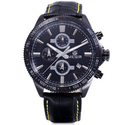 MEGIR 3001 30M Water Resistance Men Quartz WatchMens Watches<br>MEGIR 3001 30M Water Resistance Men Quartz Watch<br><br>Band material: Genuine Leather<br>Brand: MEGIR<br>Case material: Alloy<br>Clasp type: Pin buckle<br>Display type: Analog<br>Movement type: Quartz watch<br>Package Contents: 1 x MEGIR 3001 Watch<br>Package size (L x W x H): 28.00 x 6.00 x 3.00 cm / 11.02 x 2.36 x 1.18 inches<br>Package weight: 0.136 kg<br>Product size (L x W x H): 26.80 x 4.50 x 1.60 cm / 10.55 x 1.77 x 0.63 inches<br>Product weight: 0.086 kg<br>Shape of the dial: Round<br>Special features: Moving small three stitches, Luminous, Date<br>The band width: 2.0 cm / 0.79 inches<br>The dial diameter: 4.5 cm / 1.77 inches<br>The dial thickness: 1.6 cm / 0.63 inches<br>Watch style: Business<br>Watches categories: Male table<br>Water resistance: 30 meters<br>Wearable length: 26cm