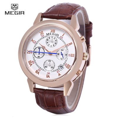MEGIR 2013 Men Quartz Watch Date Function