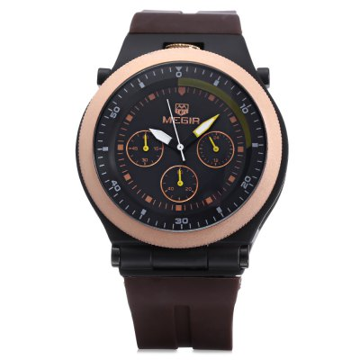 MEGIR 3003 Male Quartz WatchMens Watches<br>MEGIR 3003 Male Quartz Watch<br><br>Available Color: Black,Brown,White<br>Band material: Silicone<br>Brand: MEGIR<br>Case material: Alloy<br>Clasp type: Pin buckle<br>Display type: Analog<br>Hour formats: 24 Hour<br>Movement type: Quartz watch<br>Package Contents: 1 x MEGIR 3003 Watch<br>Package size (L x W x H): 28.00 x 6.00 x 3.00 cm / 11.02 x 2.36 x 1.18 inches<br>Package weight: 0.170 kg<br>Product size (L x W x H): 27.00 x 4.40 x 1.70 cm / 10.63 x 1.73 x 0.67 inches<br>Product weight: 0.120 kg<br>Shape of the dial: Round<br>Special features: Moving small three stitches<br>The band width: 2.2 cm / 0.87 inches<br>The dial diameter: 4.4 cm / 1.73 inches<br>The dial thickness: 1.7 cm / 0.39 inches<br>Watch style: Business<br>Watches categories: Male table<br>Water resistance: 30 meters<br>Wearable length: 27cm