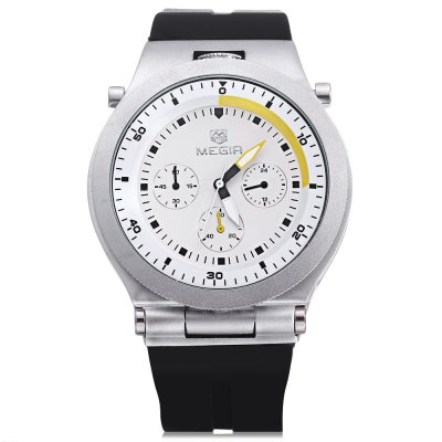 MEGIR 3003 Male Quartz WatchMens Watches<br>MEGIR 3003 Male Quartz Watch<br><br>Available Color: Black,Brown,White<br>Band material: Silicone<br>Brand: MEGIR<br>Case material: Alloy<br>Clasp type: Pin buckle<br>Display type: Analog<br>Hour formats: 24 Hour<br>Movement type: Quartz watch<br>Package Contents: 1 x MEGIR 3003 Watch<br>Package size (L x W x H): 28.00 x 6.00 x 3.00 cm / 11.02 x 2.36 x 1.18 inches<br>Package weight: 0.1700 kg<br>Product size (L x W x H): 27.00 x 4.40 x 1.70 cm / 10.63 x 1.73 x 0.67 inches<br>Product weight: 0.1200 kg<br>Shape of the dial: Round<br>Special features: Moving small three stitches<br>The band width: 2.2 cm / 0.87 inches<br>The dial diameter: 4.4 cm / 1.73 inches<br>The dial thickness: 1.7 cm / 0.39 inches<br>Watch style: Business<br>Watches categories: Male table<br>Water resistance: 30 meters<br>Wearable length: 27cm