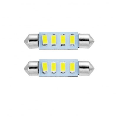 2PCS Festoon 4 SMD 5630 LED Car Lamp 2W 55LM 6000K