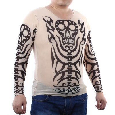 Men Skull Print Stretchy Tattoo T-shirt