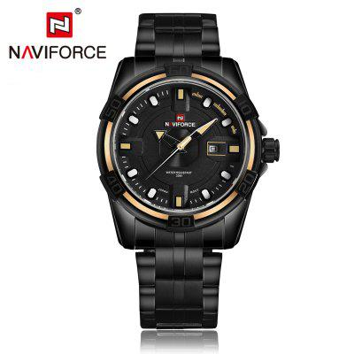 NAVIFORCE NF9079 Business Men Quartz WatchMens Watches<br>NAVIFORCE NF9079 Business Men Quartz Watch<br><br>Available Color: Coffee,Red,White,Yellow<br>Band material: Stainless Steel<br>Band size: 24.5 x 2.4 cm / 9.65 x 0.94 inches<br>Brand: Naviforce<br>Case material: Alloy<br>Clasp type: Folding clasp with safety<br>Dial size: 4.5 x 4.5 x 1.3 cm / 1.77 x 1.77 x 0.51 inches<br>Display type: Analog<br>Movement type: Quartz watch<br>Package Contents: 1 x NAVIFORCE NF9079 Business Men Quartz Watch, 1 x Box<br>Package size (L x W x H): 11.50 x 8.60 x 6.60 cm / 4.53 x 3.39 x 2.6 inches<br>Package weight: 0.302 kg<br>Product size (L x W x H): 24.50 x 4.50 x 1.30 cm / 9.65 x 1.77 x 0.51 inches<br>Product weight: 0.187 kg<br>Shape of the dial: Round<br>Special features: Date<br>Watch style: Business<br>Watches categories: Male table<br>Water resistance: 30 meters