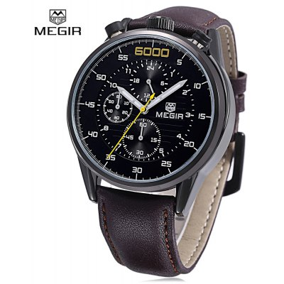 Buy BLACK LEATHER BLACK BLACK MEGIR 3005 Men Quartz Watch for $30.89 in GearBest store