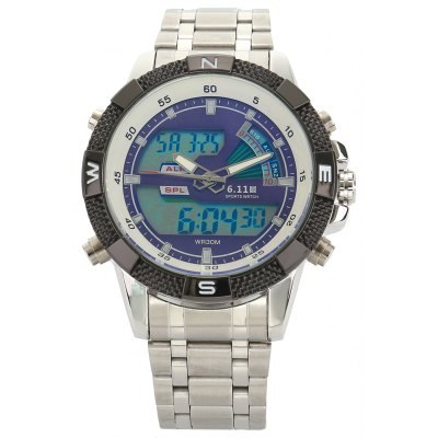 6.11 8156 Men Luminous Dial Sports Digital Quartz Watch