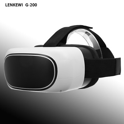 LENKEWI G - 200 All-in-one WiFi 3D VR HeadsetAll in one VR<br>LENKEWI G - 200 All-in-one WiFi 3D VR Headset<br><br>Battery: 5000mAh Li-polymer battery<br>Bluetooth: Yes<br>Bluetooth Version: Bluetooth V4.0<br>Brand: LENKEWI<br>Color: Black + White<br>Compatible with: Built-in System<br>CPU: ARM Cortex A7<br>Features: Gamer-friendly<br>FOV: 92 degree<br>FOV Range: 90 - 110 degree<br>FPS (frame per second): 70Hz<br>Interface: 3.5mm audio jack, TF Card Slot, Micro USB<br>IPD Adjustment: No<br>Lens Diameter: 40mm<br>Lens Structure: Concave-convex lens<br>Material: Foam, ABS<br>Material (Lens): Aspheric resin lens<br>Max External Card Supported: TF 32G (not included)<br>Model: G-200<br>Operating system: Android 5.1<br>Package Contents: 1 x All-in-one VR Headset, 1 x Power Adapter, 1 x In-ear Earphones, 1 x Headband, 1 x USB Cable, 1 x English / Chinese User Manual<br>Package size (L x W x H): 25.00 x 23.50 x 11.50 cm / 9.84 x 9.25 x 4.53 inches<br>Package weight: 1.2350 kg<br>Power Supply: DC 5V / 2A<br>Primary Button Type: Indirect Touch<br>Product size (L x W x H): 16.50 x 13.50 x 9.00 cm / 6.5 x 5.31 x 3.54 inches<br>Product weight: 0.4590 kg<br>RAM: 1GB<br>ROM: 8GB<br>Screen resolution: 1280 x 720 (HD)<br>Screen size: 5.0 inch<br>Screen type: TFT<br>Video format: WMV, RMVB, RM, MTS, MPG, MPEG2, MPEG4, AMV, AVI, FLV, H.263, H.264, H.265, MKV, MP4, MPEG, MPEG1<br>Video Resolution: 720P<br>VR Glasses Type: VR Headset<br>WIFI: 802.11 b/g/n<br>Working Time: About 6h