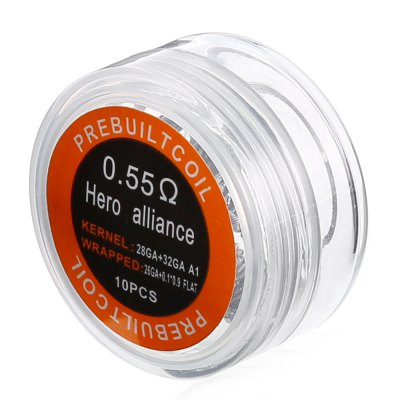 Prebuilt Kanthal A1 Hero Alliance CoilAccessories<br>Prebuilt Kanthal A1 Hero Alliance Coil<br><br>Accessories type: Wicks/Wires<br>Available Color: Silver<br>Material: Kanthal<br>Package Contents: 1 x Prebuilt Hero Alliance Coil Box ( with 10pcs 0.55 ohm Heating Wire )<br>Package size (L x W x H): 4.00 x 4.00 x 2.00 cm / 1.57 x 1.57 x 0.79 inches<br>Package weight: 0.033 kg<br>Product weight: 0.013 kg<br>Resistance: 0.55 ohm<br>Type: Electronic Cigarettes Accessories