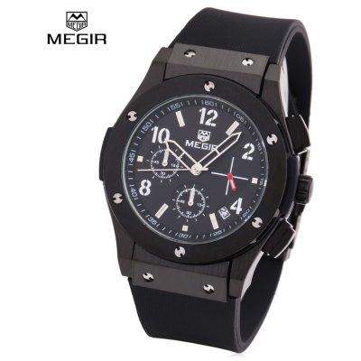 Buy BLACK BAND BLACK BLACK MEGIR 3002 Male Quartz Watch for $37.40 in GearBest store
