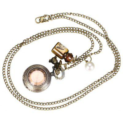 Mini Retro Stereo Crystal Mirror Cover Pocket Watch