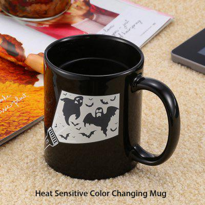 Magic Torch Bat Pattern Ceramic Heat Sensitive Color Changing Mug for Gifts