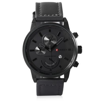 CURREN 8217 Casual Men Quartz WatchMens Watches<br>CURREN 8217 Casual Men Quartz Watch<br><br>Available Color: Black,Gray,White<br>Band material: Leather<br>Band size: 25.8 x 2.2<br>Brand: Curren<br>Case material: Stainless Steel<br>Clasp type: Pin buckle<br>Dial size: 4.5 x 4.5 x 1.2 cm<br>Display type: Analog<br>Movement type: Quartz watch<br>Package Contents: 1 x CURREN 8217 Casual Men Quartz Watch,  1 x Box<br>Package size (L x W x H): 8.80 x 8.00 x 5.30 cm / 3.46 x 3.15 x 2.09 inches<br>Package weight: 0.116 kg<br>Product size (L x W x H): 26.00 x 4.50 x 1.20 cm / 10.24 x 1.77 x 0.47 inches<br>Product weight: 0.057 kg<br>Shape of the dial: Round<br>Special features: Date<br>Watch style: Casual<br>Watches categories: Male table<br>Water resistance: Life water resistant<br>Wearable length: 17.8 - 23.3 cm