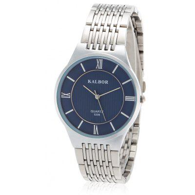 Buy SILVER AND BLUE KALBOR 5208 Business Men Ultra-thin Dial Quartz Watch for $9.94 in GearBest store