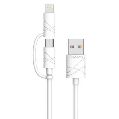 USAMS 1m 2-in-1 8 Pin Micro USB Cable