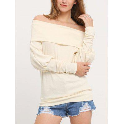Buy WHITE Off The Shoulder Knitted Shirt for Women for $10.37 in GearBest store