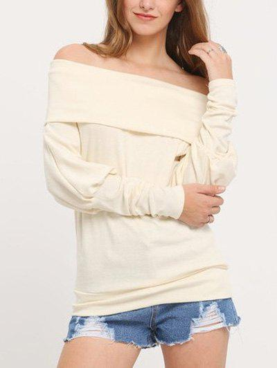 WHITE Off The Shoulder Knitted Shirt for Women