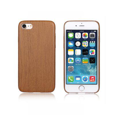 Luanke PU Leather Phone Back Case with Wood Grain for iPhone 7