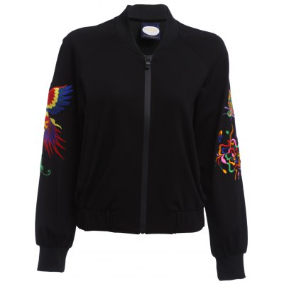 Buy BLACK Full Zip Embroidered Sleeve Jacket for Women for $26.24 in GearBest store