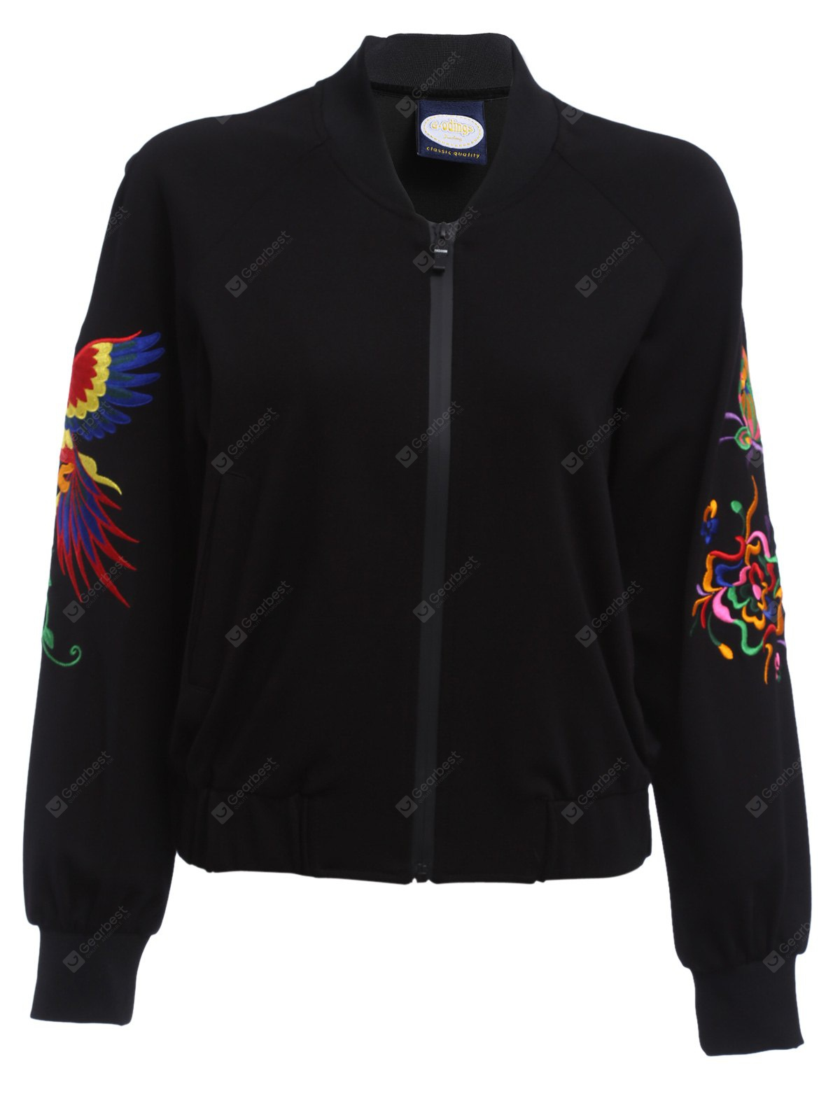BLACK Full Zip Embroidered Sleeve Jacket for Women