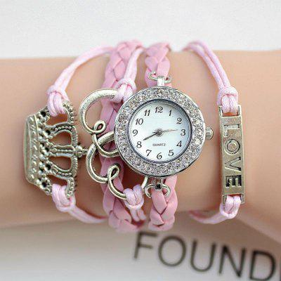 Fashion DIY Woven Bracelet Lady Quartz WatchWomens Watches<br>Fashion DIY Woven Bracelet Lady Quartz Watch<br><br>Band material: PU<br>Band size: 15.5 x 2.5 cm / 6.1 x 0.98 inches<br>Case material: Alloy<br>Clasp type: Jewelry clasp<br>Dial size: 2.5 x 2.5 x 0.5 cm / 0.98 x 0.98 x 0.2 inches<br>Display type: Analog<br>Movement type: Quartz watch<br>Package Contents: 1 x Fashion DIY Woven Bracelet Lady Quartz Watch<br>Package size (L x W x H): 20.00 x 8.00 x 3.50 cm / 7.87 x 3.15 x 1.38 inches<br>Package weight: 0.050 kg<br>Product size (L x W x H): 15.50 x 2.50 x 0.50 cm / 6.1 x 0.98 x 0.2 inches<br>Product weight: 0.025 kg<br>Shape of the dial: Round<br>Watch color: Black, Pink, White, Pink + White, Red<br>Watch style: Fashion, Bracelet Style<br>Watches categories: Female table
