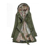 Double Breasted Fur Liner Overcoat for Women - ARMY GREEN