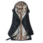 Double Breasted Fur Liner Overcoat for Women - BLACK