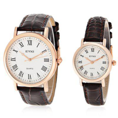 EYKI 1005 Casual Roman Number Scale Quartz Couple Watches