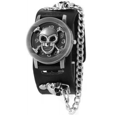 Skull Bone Faux Leather Chain Bracelet Watch